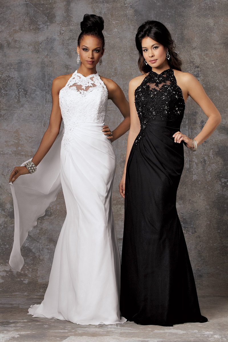 Wedding Dresses, Fashion, white, black, Winter, City, Beading, Halter, Sheath, Floor, Chiffon, Formal, Ballroom, Sleeveless, Ruching, halter wedding dresses, Beaded Wedding Dresses, moments by jordan, winter wedding dresses, Sheath Wedding Dresses, Chiffon Wedding Dresses, Formal Wedding Dresses, Floor Wedding Dresses
