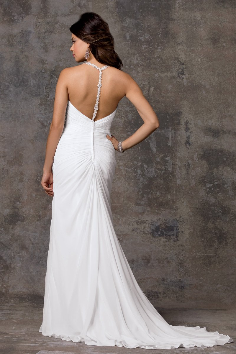 Wedding Dresses, Romantic Wedding Dresses, Beach Wedding Dresses, Fashion, white, Beach, Romantic, Beading, V-neck, V-neck Wedding Dresses, Sheath, Floor, Chiffon, Sleeveless, Beaded Wedding Dresses, moments by jordan, Sheath Wedding Dresses, Chiffon Wedding Dresses, Floor Wedding Dresses
