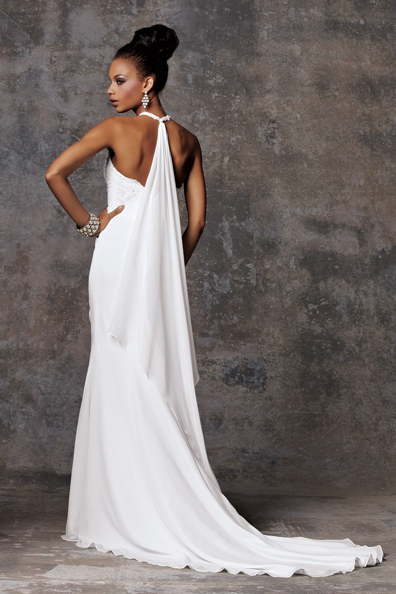 Wedding Dresses, Fashion, white, Winter, Modern, Beading, Halter, Sheath, Floor, Chiffon, Formal, Ballroom, Museum, Sleeveless, Ruching, Modern Wedding Dresses, halter wedding dresses, Beaded Wedding Dresses, moments by jordan, winter wedding dresses, Sheath Wedding Dresses, Chiffon Wedding Dresses, Formal Wedding Dresses, Floor Wedding Dresses