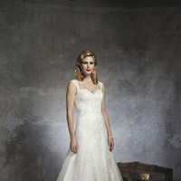 ivory, Romantic, Lace, A-line, Floor, Wedding dress, Natural, Justin Alexander, Sleeveless, hollywood glam