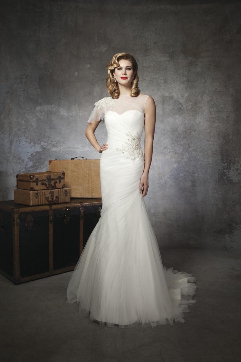 white, Beading, Tulle, Floor, Wedding dress, Justin Alexander, Sheer, high-neck, One Sleeve