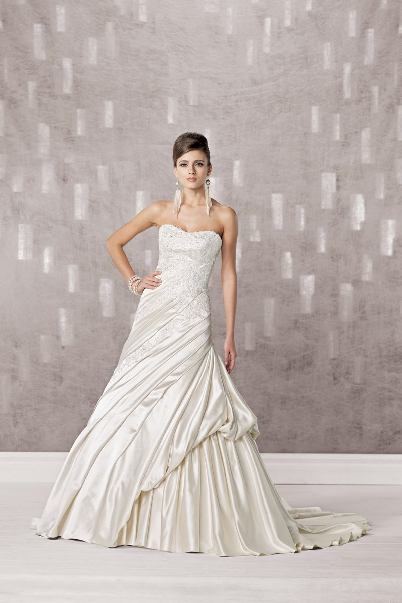 Wedding Dresses, A-line Wedding Dresses, Lace Wedding Dresses, Fashion, white, ivory, Modern, Lace, Strapless, Strapless Wedding Dresses, A-line, Beading, Tulle, Satin, Floor, Pleats, Pick-ups, Sleeveless, Modern Wedding Dresses, Beaded Wedding Dresses, Kathy Ireland by 2be - Bridal, tulle wedding dresses, satin wedding dresses, Floor Wedding Dresses