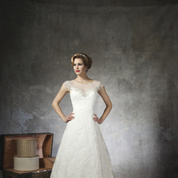 ivory, Lace, A-line, Beading, Floor, Wedding dress, Justin Alexander, cap sleeve