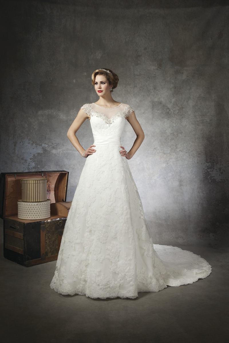 ivory, Lace, A-line, Beading, Floor, Wedding dress, Justin Alexander, cap sleeve