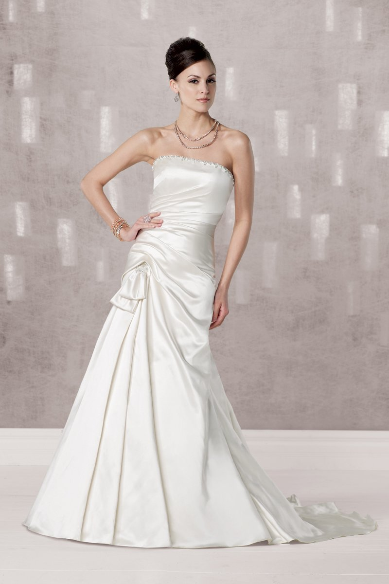 Wedding Dresses, A-line Wedding Dresses, Fashion, ivory, Modern, Strapless, Strapless Wedding Dresses, A-line, Beading, Satin, Floor, Dropped, Pleats, Sleeveless, Ruching, Modern Wedding Dresses, Beaded Wedding Dresses, Kathy Ireland by 2be - Bridal, White View Website, satin wedding dresses, Floor Wedding Dresses