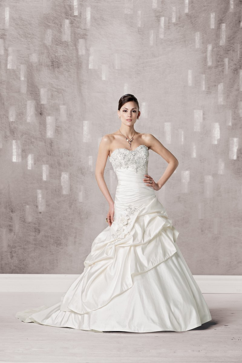Wedding Dresses, Sweetheart Wedding Dresses, A-line Wedding Dresses, Romantic Wedding Dresses, Fashion, white, ivory, Classic, Flowers, Romantic, Sweetheart, Strapless, Strapless Wedding Dresses, A-line, Beading, Floor, Dropped, Taffeta, Pick-ups, Sleeveless, Ruching, Beaded Wedding Dresses, taffeta wedding dresses, Classic Wedding Dresses, Kathy Ireland by 2be - Bridal, Flower Wedding Dresses, Floor Wedding Dresses