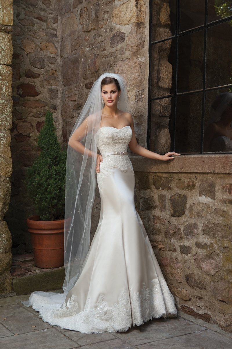 Wedding Dresses, Sweetheart Wedding Dresses, Lace Wedding Dresses, Hollywood Glam Wedding Dresses, Fashion, white, ivory, Lace, Sweetheart, Strapless, Strapless Wedding Dresses, Beading, Satin, Floor, Pleats, Sleeveless, hollywood glam, Beaded Wedding Dresses, Kathy Ireland by 2be - Bridal, satin wedding dresses, Floor Wedding Dresses
