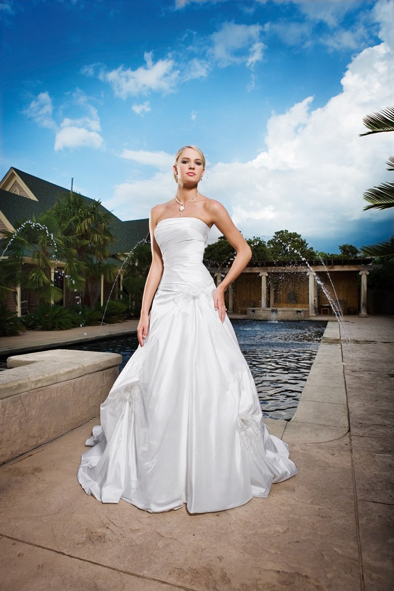 Wedding Dresses, A-line Wedding Dresses, Fashion, white, ivory, Feathers, Classic, Flowers, Strapless, Strapless Wedding Dresses, A-line, Floor, Silk, Pleats, Pick-ups, Sleeveless, Shantung, Classic Wedding Dresses, Kathy Ireland by 2be - Bridal, Flower Wedding Dresses, Feather Wedding Dresses, Silk Wedding Dresses, Floor Wedding Dresses, Shantung Wedding Dresses