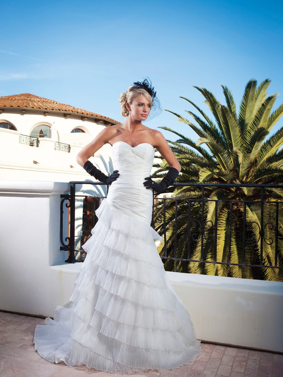 Wedding Dresses, Sweetheart Wedding Dresses, A-line Wedding Dresses, Ruffled Wedding Dresses, Fashion, white, ivory, Sweetheart, Strapless, Strapless Wedding Dresses, A-line, Floor, Organza, Ruffles, Tiers, Hip, Pleats, Sleeveless, Ruching, organza wedding dresses, Kathy Ireland by 2be - Bridal, Floor Wedding Dresses, Hip Wedding Dresses, Tiered Wedding Dresses
