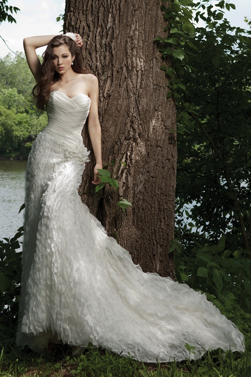 Wedding Dresses, Sweetheart Wedding Dresses, Fashion, white, ivory, Spring, Flowers, Sweetheart, Strapless, Strapless Wedding Dresses, Sheath, Floor, Chiffon, Sleeveless, Ruching, Avant-Garde, Spring Wedding Dresses, Kathy Ireland by 2be - Bridal, Flower Wedding Dresses, Sheath Wedding Dresses, Chiffon Wedding Dresses, Floor Wedding Dresses