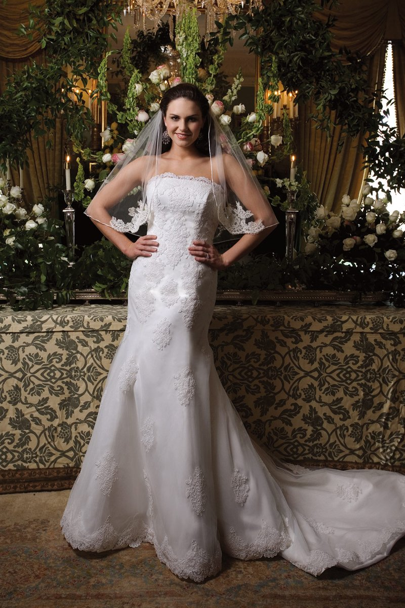 Wedding Dresses, Mermaid Wedding Dresses, Lace Wedding Dresses, Fashion, white, ivory, Classic, Lace, Strapless, Strapless Wedding Dresses, Tulle, Floor, Sleeveless, Mermaid/Trumpet, Fit-n-Flare, trumpet wedding dresses, Classic Wedding Dresses, Kathy Ireland by 2be - Bridal, tulle wedding dresses, Floor Wedding Dresses