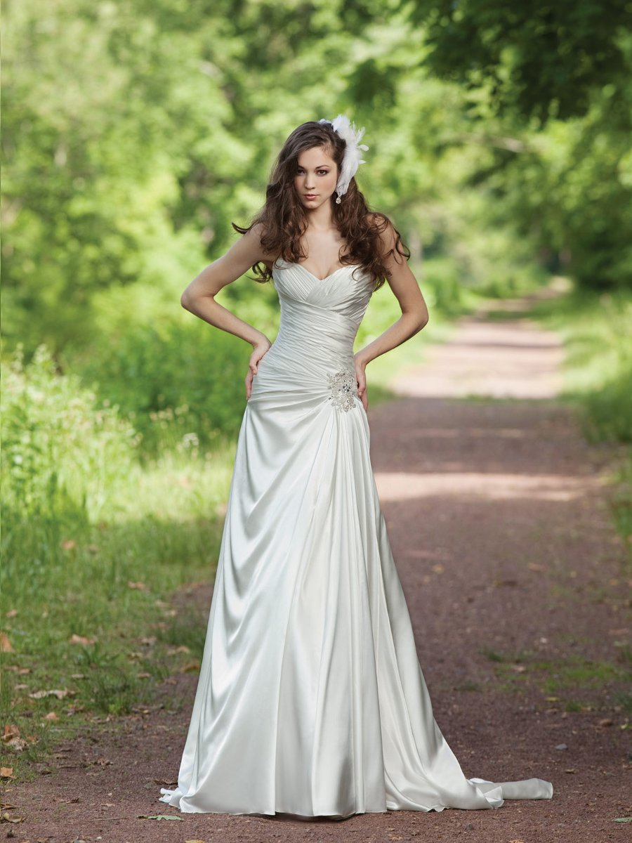 Wedding Dresses, Sweetheart Wedding Dresses, A-line Wedding Dresses, Fashion, white, ivory, Boho Chic, Sweetheart, Strapless, Strapless Wedding Dresses, A-line, Beading, Satin, Floor, Sleeveless, Ruching, Beaded Wedding Dresses, Boho Chic Wedding Dresses, Kathy Ireland by 2be - Bridal, satin wedding dresses, Floor Wedding Dresses