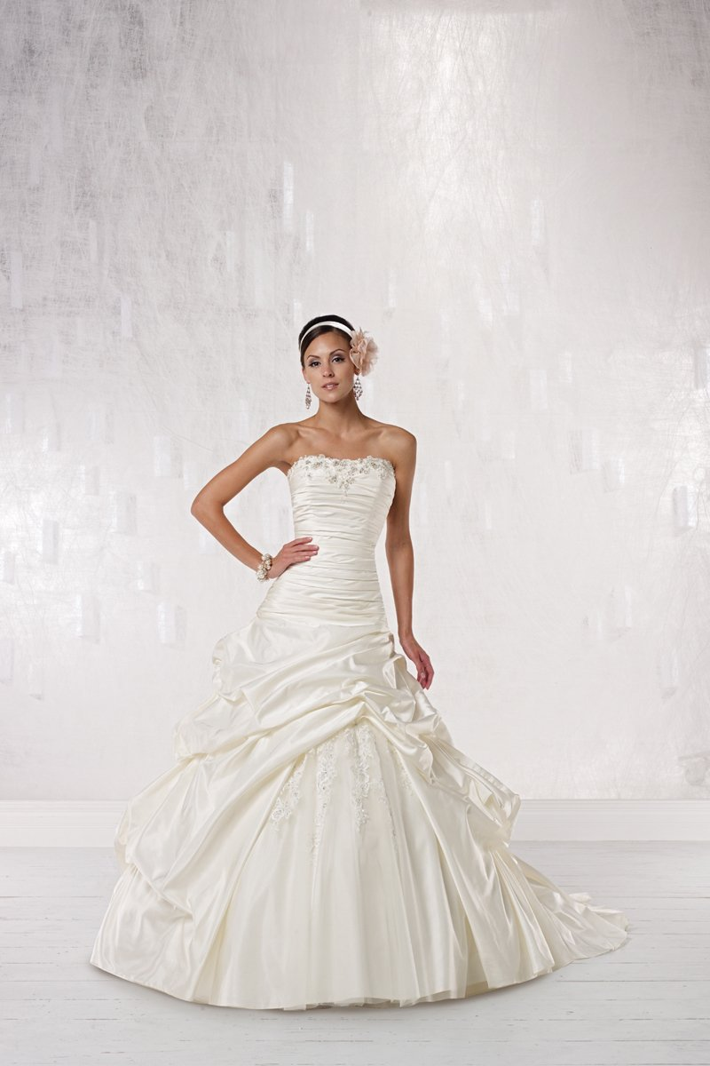 Ball Gown Wedding Dresses, Fashion, white, ivory, Strapless, Strapless Wedding Dresses, Beading, Tulle, Satin, Floor, Dropped, Taffeta, Pick-ups, Sleeveless, Ruching, Ball gown, Beaded Wedding Dresses, taffeta wedding dresses, Kathy Ireland by 2be - Bridal, wedding dressess, tulle wedding dresses, satin wedding dresses, Floor Wedding Dresses