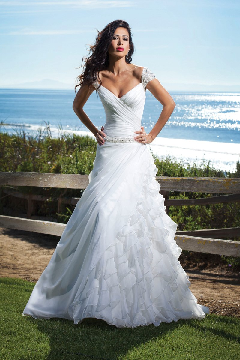 Wedding Dresses, A-line Wedding Dresses, Ruffled Wedding Dresses, Beach Wedding Dresses, Fashion, white, ivory, Beach, A-line, Off the shoulder, Beading, Floor, Chiffon, Ruffles, Dropped, Ruching, cap sleeve, Off the Shoulder Wedding Dresses, Beaded Wedding Dresses, Kathy Ireland by 2be - Bridal, Chiffon Wedding Dresses, Floor Wedding Dresses