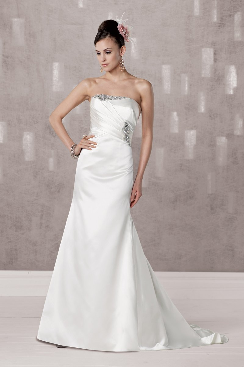 Wedding Dresses, A-line Wedding Dresses, Mermaid Wedding Dresses, Fashion, white, ivory, Shabby Chic, Strapless, Strapless Wedding Dresses, A-line, Beading, Satin, Floor, Pleats, Sleeveless, Fit-n-Flare, Beaded Wedding Dresses, Kathy Ireland by 2be - Bridal, satin wedding dresses, Floor Wedding Dresses, Shabby Chic Wedding Dresses