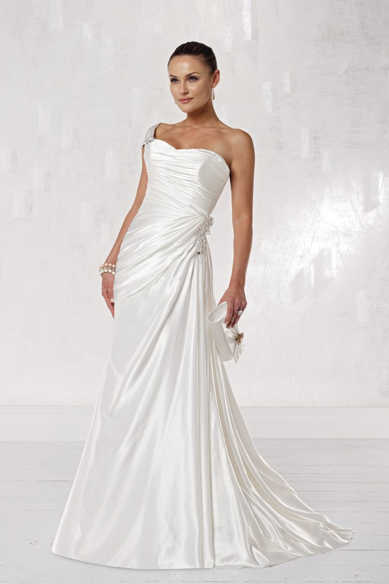 Wedding Dresses, Sweetheart Wedding Dresses, One-Shoulder Wedding Dresses, A-line Wedding Dresses, Beach Wedding Dresses, Fashion, white, Beach, Sweetheart, Strapless, Strapless Wedding Dresses, A-line, Beading, Floor, Silk, Sleeveless, Ruching, One-shoulder, Beaded Wedding Dresses, Kathy Ireland by 2be - Bridal, Silk Wedding Dresses, Floor Wedding Dresses