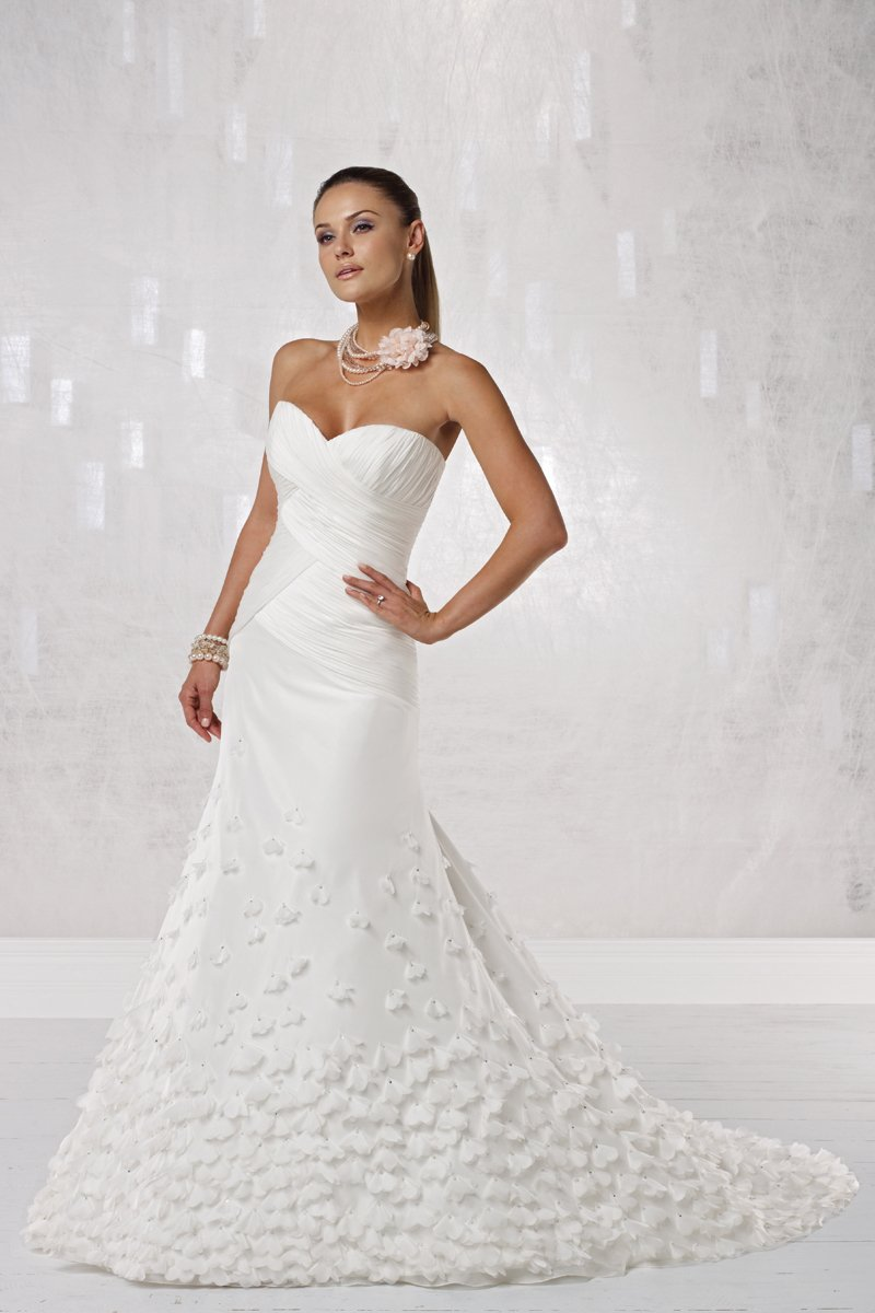Wedding Dresses, Sweetheart Wedding Dresses, Mermaid Wedding Dresses, Fashion, white, ivory, Flowers, Sweetheart, Strapless, Strapless Wedding Dresses, Satin, Floor, Organza, Hip, Ruching, Fit-n-Flare, organza wedding dresses, Kathy Ireland by 2be - Bridal, satin wedding dresses, Flower Wedding Dresses, Floor Wedding Dresses, Hip Wedding Dresses
