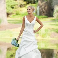 Wedding Dresses, A-line Wedding Dresses, Fashion, white, ivory, Classic, Flowers, A-line, V-neck, V-neck Wedding Dresses, Floor, Taffeta, Pick-ups, Sleeveless, Ruching, taffeta wedding dresses, Classic Wedding Dresses, Kathy Ireland by 2be - Bridal, Flower Wedding Dresses, Floor Wedding Dresses