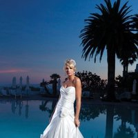 Wedding Dresses, Sweetheart Wedding Dresses, A-line Wedding Dresses, Fashion, white, ivory, Modern, Flowers, Sweetheart, Strapless, Strapless Wedding Dresses, A-line, Satin, Floor, Pick-ups, Sleeveless, Ruching, Modern Wedding Dresses, Kathy Ireland by 2be - Bridal, satin wedding dresses, Flower Wedding Dresses, Floor Wedding Dresses