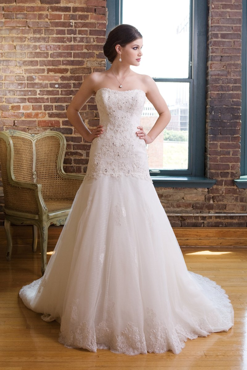 Wedding Dresses, Sweetheart Wedding Dresses, A-line Wedding Dresses, Lace Wedding Dresses, Fashion, white, ivory, Spring, Shabby Chic, Lace, Sweetheart, Strapless, Strapless Wedding Dresses, A-line, Beading, Floor, Sleeveless, Beaded Wedding Dresses, Spring Wedding Dresses, Kathy Ireland by 2be - Bridal, Floor Wedding Dresses, Shabby Chic Wedding Dresses