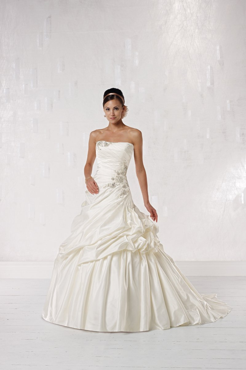 Wedding Dresses, A-line Wedding Dresses, Fashion, white, ivory, Classic, Strapless, Strapless Wedding Dresses, A-line, Beading, Satin, Floor, Dropped, Pleats, Pick-ups, Sleeveless, Ruching, Beaded Wedding Dresses, Classic Wedding Dresses, Kathy Ireland by 2be - Bridal, satin wedding dresses, Floor Wedding Dresses