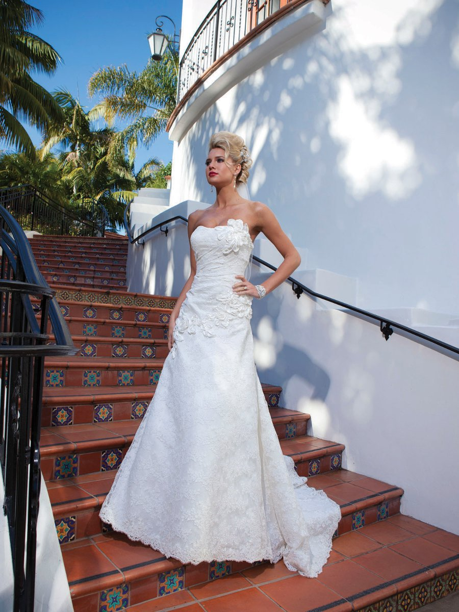 Wedding Dresses, A-line Wedding Dresses, Lace Wedding Dresses, Fashion, white, ivory, Classic, Flowers, Lace, Strapless, Strapless Wedding Dresses, A-line, Spaghetti straps, Beading, Halter, Floor, Sleeveless, halter wedding dresses, Beaded Wedding Dresses, Classic Wedding Dresses, Kathy Ireland by 2be - Bridal, Flower Wedding Dresses, Spahetti Strap Wedding Dresses, Floor Wedding Dresses