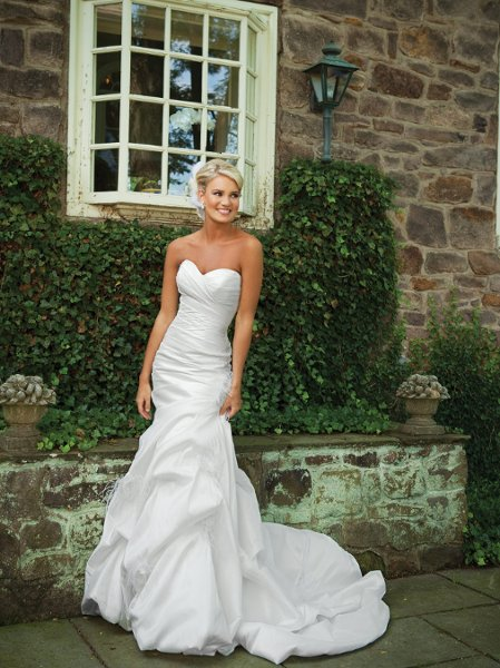 Wedding Dresses, Sweetheart Wedding Dresses, Mermaid Wedding Dresses, Fashion, white, ivory, Feathers, Flowers, Sweetheart, Strapless, Strapless Wedding Dresses, Taffeta, Modest, Pick-ups, Sleeveless, Ruching, Mermaid/Trumpet, taffeta wedding dresses, trumpet wedding dresses, Kathy Ireland by 2be - Bridal, Flower Wedding Dresses, Feather Wedding Dresses, Modest Wedding Dresses