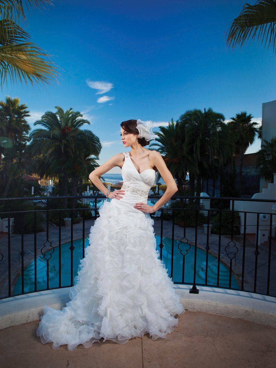 Wedding Dresses, Sweetheart Wedding Dresses, One-Shoulder Wedding Dresses, A-line Wedding Dresses, Ruffled Wedding Dresses, Fashion, white, ivory, Fall, Sweetheart, A-line, Beading, Floor, Organza, Ruffles, Sleeveless, Ruching, One-shoulder, Avant-Garde, Beaded Wedding Dresses, organza wedding dresses, Kathy Ireland by 2be - Bridal, Fall Wedding Dresses, Floor Wedding Dresses