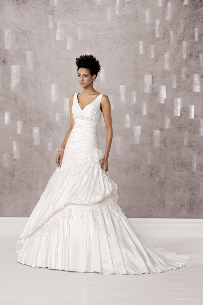 Wedding Dresses, A-line Wedding Dresses, Lace Wedding Dresses, Fashion, ivory, Flowers, Lace, A-line, Beading, V-neck, V-neck Wedding Dresses, Floor, Taffeta, Modest, Pleats, Pick-ups, Sleeveless, Ruching, Beaded Wedding Dresses, taffeta wedding dresses, Kathy Ireland by 2be - Bridal, Flower Wedding Dresses, Floor Wedding Dresses, Modest Wedding Dresses