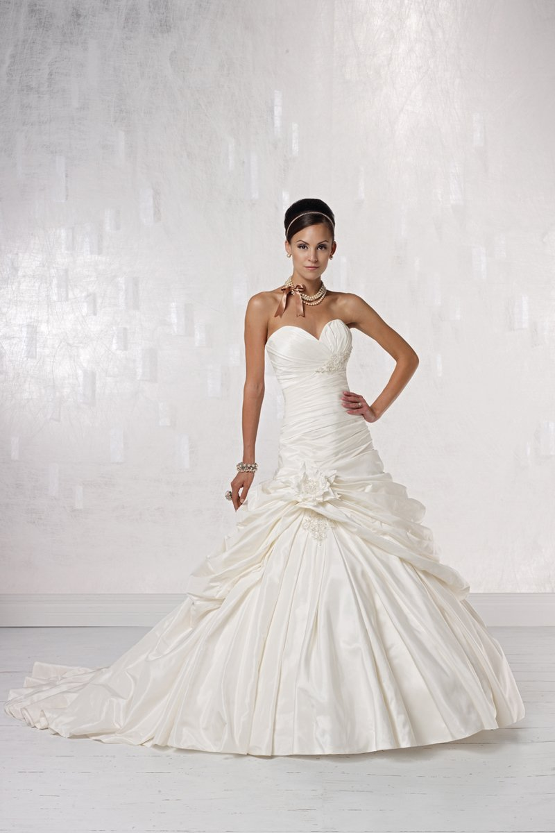 Wedding Dresses, Sweetheart Wedding Dresses, Ball Gown Wedding Dresses, Fashion, white, ivory, Modern, Flowers, Sweetheart, Strapless, Strapless Wedding Dresses, Beading, Floor, Dropped, Taffeta, Pleats, Pick-ups, Sleeveless, Ball gown, Modern Wedding Dresses, Beaded Wedding Dresses, taffeta wedding dresses, Kathy Ireland by 2be - Bridal, Flower Wedding Dresses, Floor Wedding Dresses