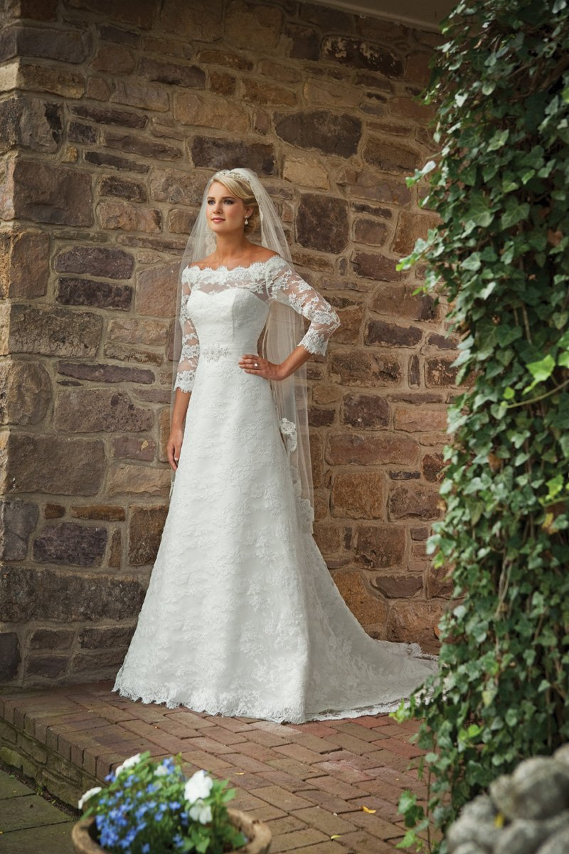 Wedding Dresses, Sweetheart Wedding Dresses, A-line Wedding Dresses, Lace Wedding Dresses, Fashion, white, ivory, Shabby Chic, Lace, Sweetheart, A-line, Off the shoulder, Beading, Floor, Chiffon, Long sleeve, Ruching, Off the Shoulder Wedding Dresses, Beaded Wedding Dresses, Kathy Ireland by 2be - Bridal, Chiffon Wedding Dresses, Floor Wedding Dresses, Shabby Chic Wedding Dresses