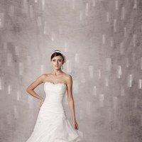Wedding Dresses, Sweetheart Wedding Dresses, A-line Wedding Dresses, Fashion, white, ivory, Modern, Sweetheart, Strapless, Strapless Wedding Dresses, A-line, Beading, Tulle, Satin, Floor, Dropped, Pick-ups, Sleeveless, Ruching, Modern Wedding Dresses, Beaded Wedding Dresses, Kathy Ireland by 2be - Bridal, tulle wedding dresses, satin wedding dresses, Floor Wedding Dresses