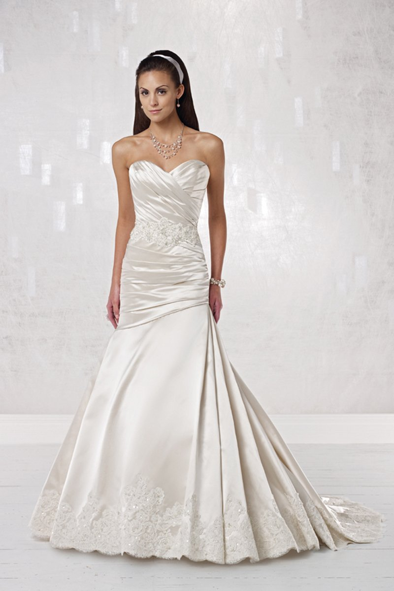 Wedding Dresses, Sweetheart Wedding Dresses, Mermaid Wedding Dresses, Lace Wedding Dresses, Fashion, white, ivory, Lace, Sweetheart, Strapless, Strapless Wedding Dresses, Spaghetti straps, Beading, Satin, Floor, Hip, Sleeveless, Mermaid/Trumpet, Beaded Wedding Dresses, trumpet wedding dresses, Kathy Ireland by 2be - Bridal, satin wedding dresses, Spahetti Strap Wedding Dresses, Floor Wedding Dresses, Hip Wedding Dresses