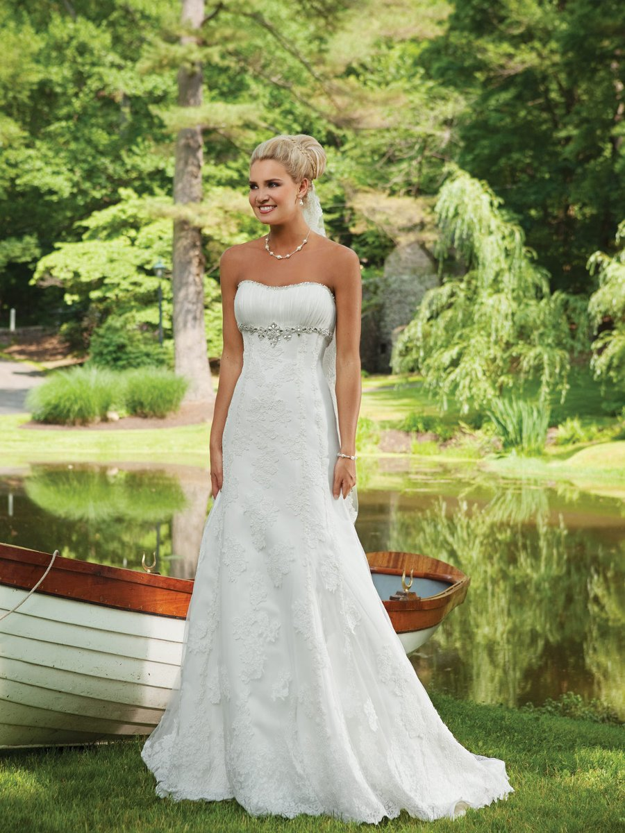Wedding Dresses, Sweetheart Wedding Dresses, A-line Wedding Dresses, Lace Wedding Dresses, Fashion, white, ivory, Classic, Lace, Sweetheart, Strapless, Strapless Wedding Dresses, A-line, Beading, Empire, Floor, Sleeveless, Ruching, Beaded Wedding Dresses, Classic Wedding Dresses, Kathy Ireland by 2be - Bridal, Floor Wedding Dresses