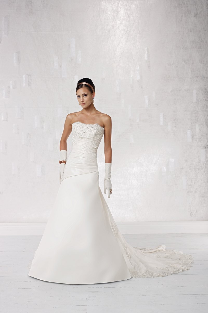 Wedding Dresses, A-line Wedding Dresses, Lace Wedding Dresses, Fashion, white, ivory, Lace, Strapless, Strapless Wedding Dresses, A-line, Spaghetti straps, Beading, Floor, Hip, Dropped, Taffeta, Sleeveless, Ruching, Beaded Wedding Dresses, taffeta wedding dresses, Kathy Ireland by 2be - Bridal, Spahetti Strap Wedding Dresses, Floor Wedding Dresses, Hip Wedding Dresses