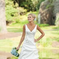 Wedding Dresses, A-line Wedding Dresses, Romantic Wedding Dresses, Fashion, white, ivory, Flowers, Romantic, A-line, V-neck, V-neck Wedding Dresses, Floor, Formal, Taffeta, Pick-ups, Sleeveless, Ruching, taffeta wedding dresses, Kathy Ireland by 2be - Bridal, Flower Wedding Dresses, Formal Wedding Dresses, Floor Wedding Dresses