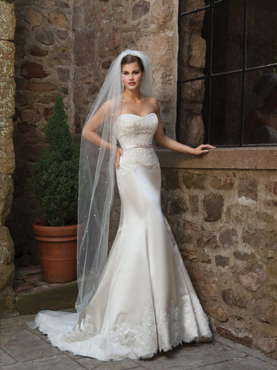 Wedding Dresses, Sweetheart Wedding Dresses, Mermaid Wedding Dresses, Lace Wedding Dresses, Hollywood Glam Wedding Dresses, Fashion, white, ivory, Lace, Sweetheart, Strapless, Strapless Wedding Dresses, Beading, Satin, Floor, Sleeveless, Fit-n-Flare, hollywood glam, Beaded Wedding Dresses, Kathy Ireland by 2be - Bridal, satin wedding dresses, Floor Wedding Dresses