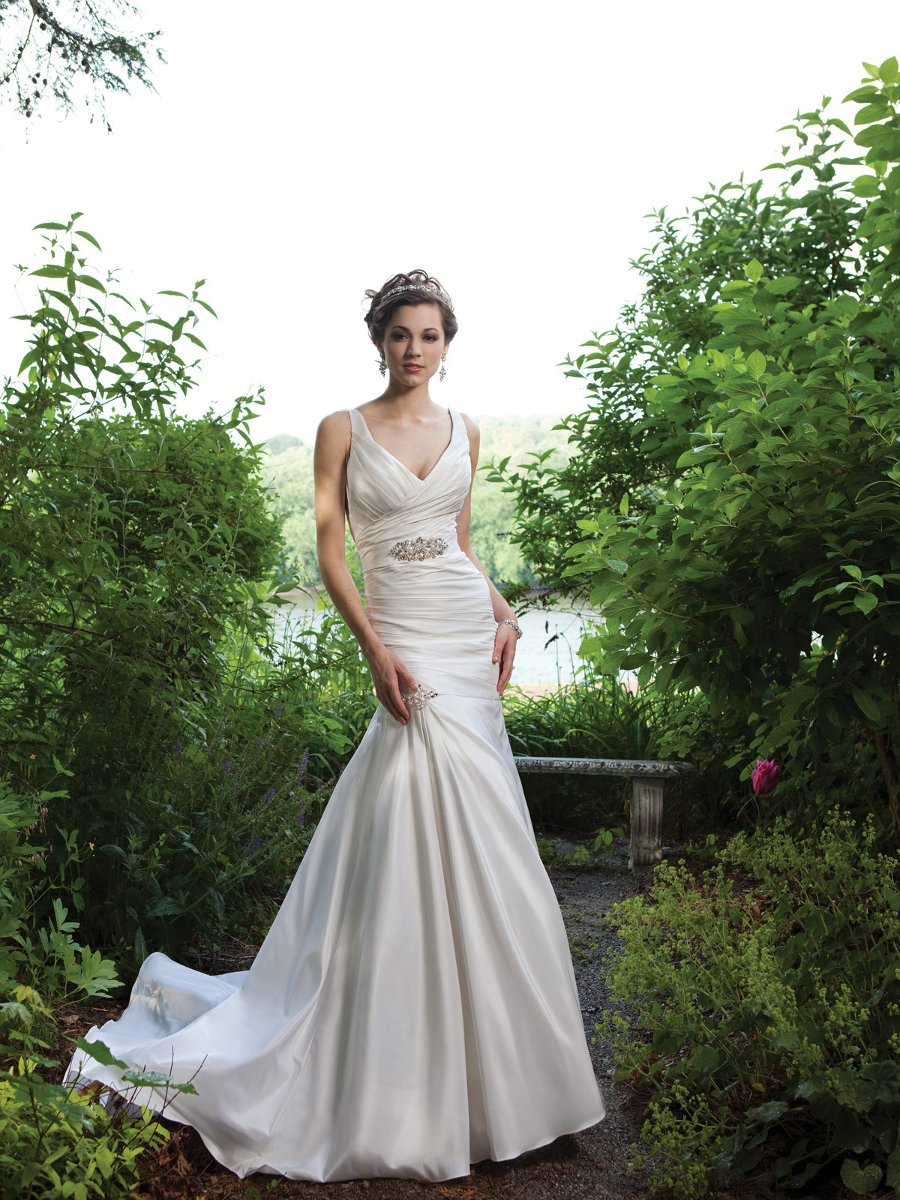 Wedding Dresses, Mermaid Wedding Dresses, Vintage Wedding Dresses, Fashion, white, ivory, Vintage, Beading, V-neck, V-neck Wedding Dresses, Floor, Silk, Taffeta, Sleeveless, Ruching, Mermaid/Trumpet, Beaded Wedding Dresses, taffeta wedding dresses, trumpet wedding dresses, Kathy Ireland by 2be - Bridal, Silk Wedding Dresses, Floor Wedding Dresses