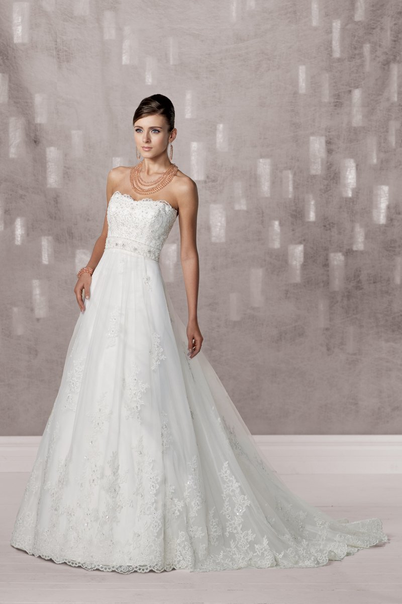 Wedding Dresses, A-line Wedding Dresses, Lace Wedding Dresses, Fashion, white, ivory, Classic, Lace, Strapless, Strapless Wedding Dresses, A-line, Beading, Empire, Tulle, Satin, Floor, Organza, Sleeveless, Beaded Wedding Dresses, organza wedding dresses, Classic Wedding Dresses, Kathy Ireland by 2be - Bridal, tulle wedding dresses, satin wedding dresses, Floor Wedding Dresses