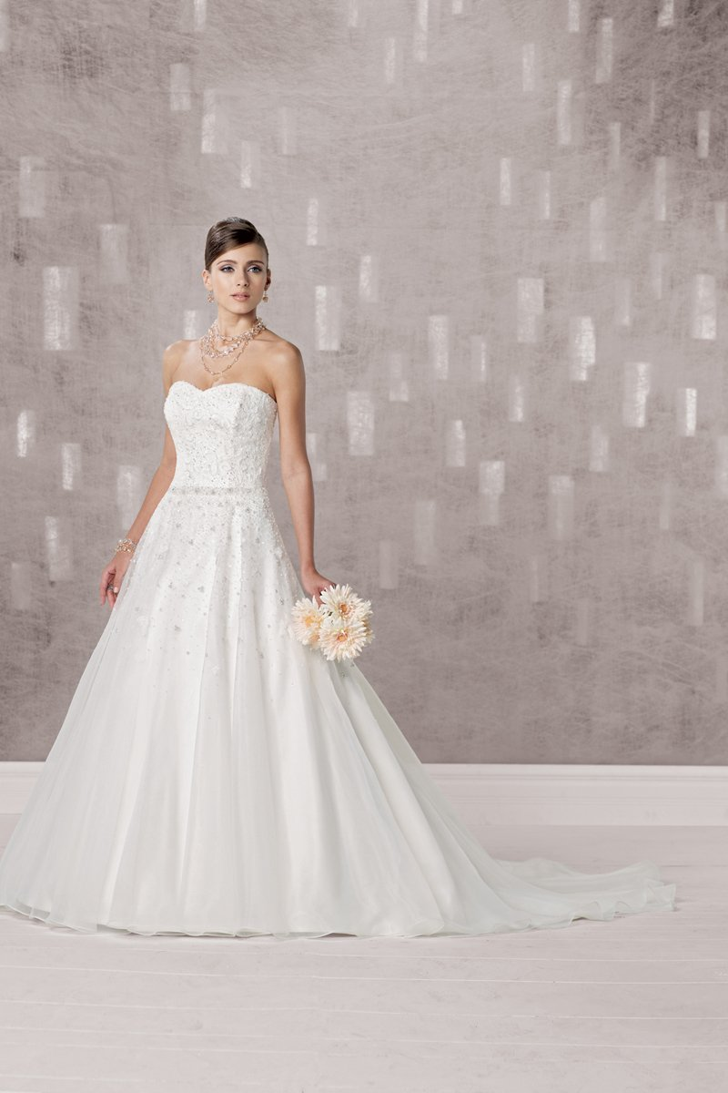 Wedding Dresses, Sweetheart Wedding Dresses, A-line Wedding Dresses, Lace Wedding Dresses, Fashion, white, ivory, Classic, Lace, Sweetheart, Strapless, Strapless Wedding Dresses, A-line, Beading, Floor, Organza, Pleats, Sleeveless, Beaded Wedding Dresses, organza wedding dresses, Classic Wedding Dresses, Kathy Ireland by 2be - Bridal, Floor Wedding Dresses