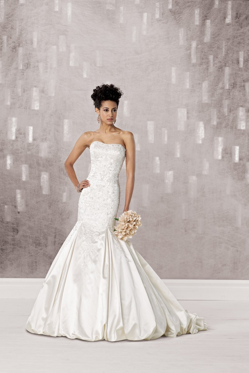 Wedding Dresses, Sweetheart Wedding Dresses, Mermaid Wedding Dresses, Fashion, white, ivory, Sweetheart, Strapless, Strapless Wedding Dresses, Beading, Satin, Floor, Hip, Dropped, Pleats, Sleeveless, Mermaid/Trumpet, Fit-n-Flare, Beaded Wedding Dresses, trumpet wedding dresses, Kathy Ireland by 2be - Bridal, satin wedding dresses, Floor Wedding Dresses, Hip Wedding Dresses