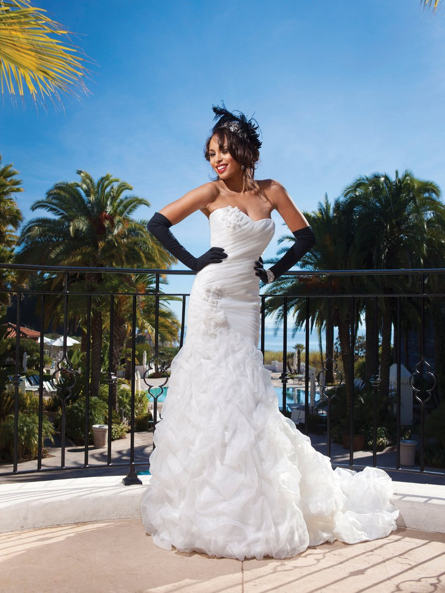 Wedding Dresses, Sweetheart Wedding Dresses, Mermaid Wedding Dresses, Fashion, white, ivory, Flowers, Sweetheart, Strapless, Strapless Wedding Dresses, Beading, Organza, Pick-ups, Sleeveless, Ruching, Avant-Garde, Mermaid/Trumpet, Beaded Wedding Dresses, organza wedding dresses, trumpet wedding dresses, Kathy Ireland by 2be - Bridal, Flower Wedding Dresses