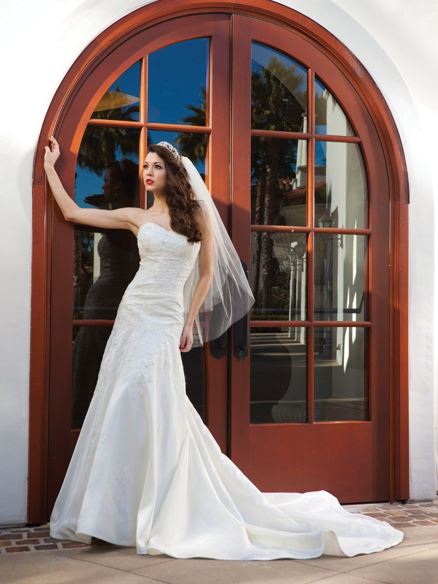 Wedding Dresses, A-line Wedding Dresses, Fashion, white, ivory, Fall, Strapless, Strapless Wedding Dresses, A-line, Beading, Satin, Floor, Modest, Sleeveless, Ruching, Beaded Wedding Dresses, Kathy Ireland by 2be - Bridal, satin wedding dresses, Fall Wedding Dresses, Floor Wedding Dresses, Modest Wedding Dresses