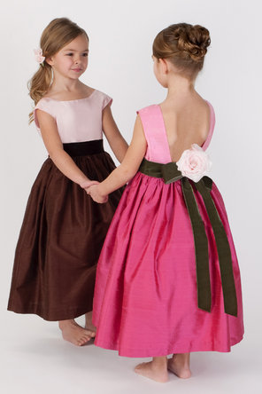 Flower Girl Dresses, Ball Gown Wedding Dresses, Fashion, Natural waist, Ribbons, Sashes, Silk, Sleeveless, Ball gown, Katina katoo, square neck, ankle length, fall 2012, Silk Wedding Dresses