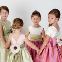 Flower Girl Dresses, Ball Gown Wedding Dresses, Fashion, Natural waist, Ribbons, Sashes, Silk, Ball gown, Katina katoo, bateau, Bateau Wedding Dresses, ankle length, fall 2012, Silk Wedding Dresses