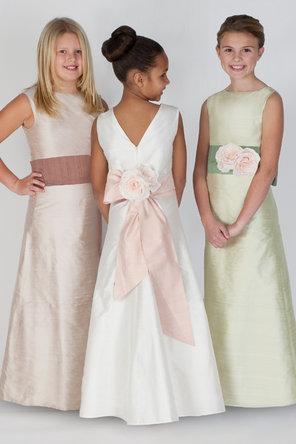 Flower Girl Dresses, A-line Wedding Dresses, Fashion, A-line, Natural waist, Ribbons, Sashes, Silk, Katina katoo, floor length, bateau, Bateau Wedding Dresses, fall 2012, Silk Wedding Dresses