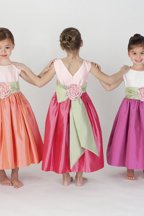 Flower Girl Dresses, Fashion, Natural waist, Ribbons, Sashes, Taffeta, Sleeveless, Katina katoo, bateau, Bateau Wedding Dresses, taffeta wedding dresses, ankle length, fall 2012