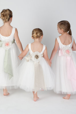 Flower Girl Dresses, Ball Gown Wedding Dresses, Fashion, Natural waist, Ribbons, Sashes, Silk, Sleeveless, Ball gown, Katina katoo, bateau, Bateau Wedding Dresses, ankle length, fall 2012, Silk Wedding Dresses