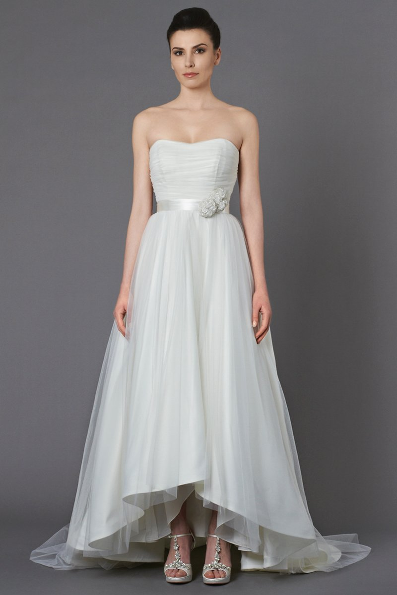 Wedding Dresses, Ball Gown Wedding Dresses, Romantic Wedding Dresses, Fashion, ivory, Vineyard, Flowers, City, Boho Chic, Romantic, Tulle, Country, Natural, Ruching, Ball gown, High-low, Sash/Belt, Kelly Faetanini, Boho Chic Wedding Dresses, tulle wedding dresses, high-low wedding dresses, Flower Wedding Dresses, Sash Wedding Dresses, Belt Wedding Dresses