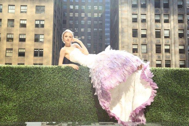 Wedding Dresses, Mermaid Wedding Dresses, Fashion, white, purple, Feathers, Strapless, Strapless Wedding Dresses, Satin, Floor, Ballroom, Tiers, Dropped, Pleats, Ruching, Avant-Garde, Mermaid/Trumpet, Kelly Faetanini, trumpet wedding dresses, satin wedding dresses, Feather Wedding Dresses, Floor Wedding Dresses, Tiered Wedding Dresses